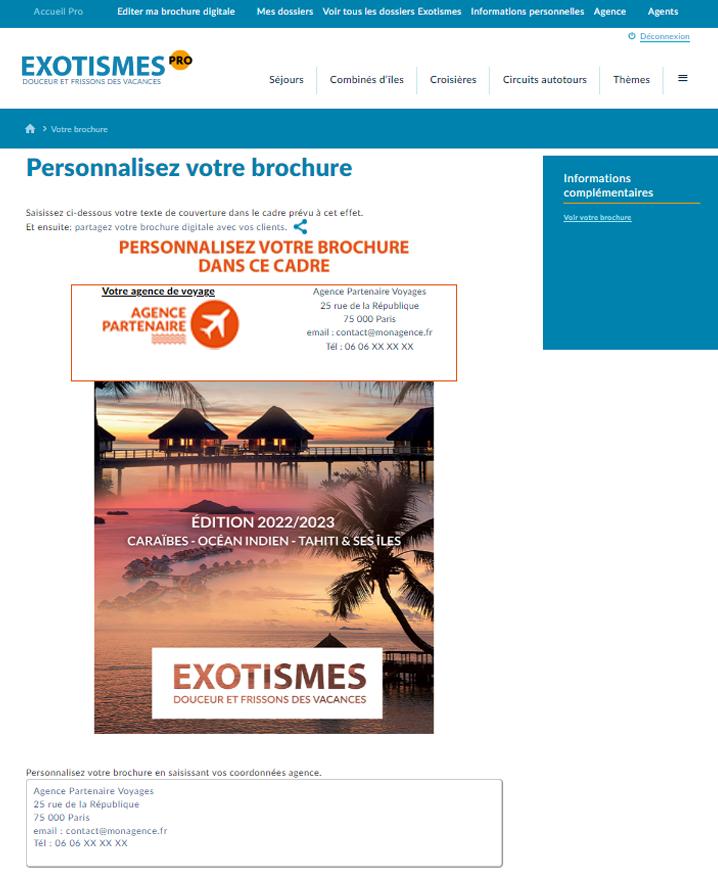 site avec brochure douceur des iles