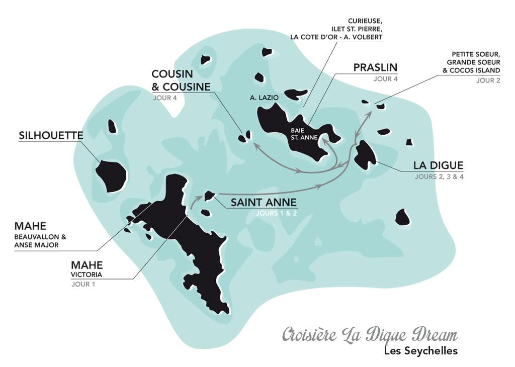 plan de la croisière seychelles