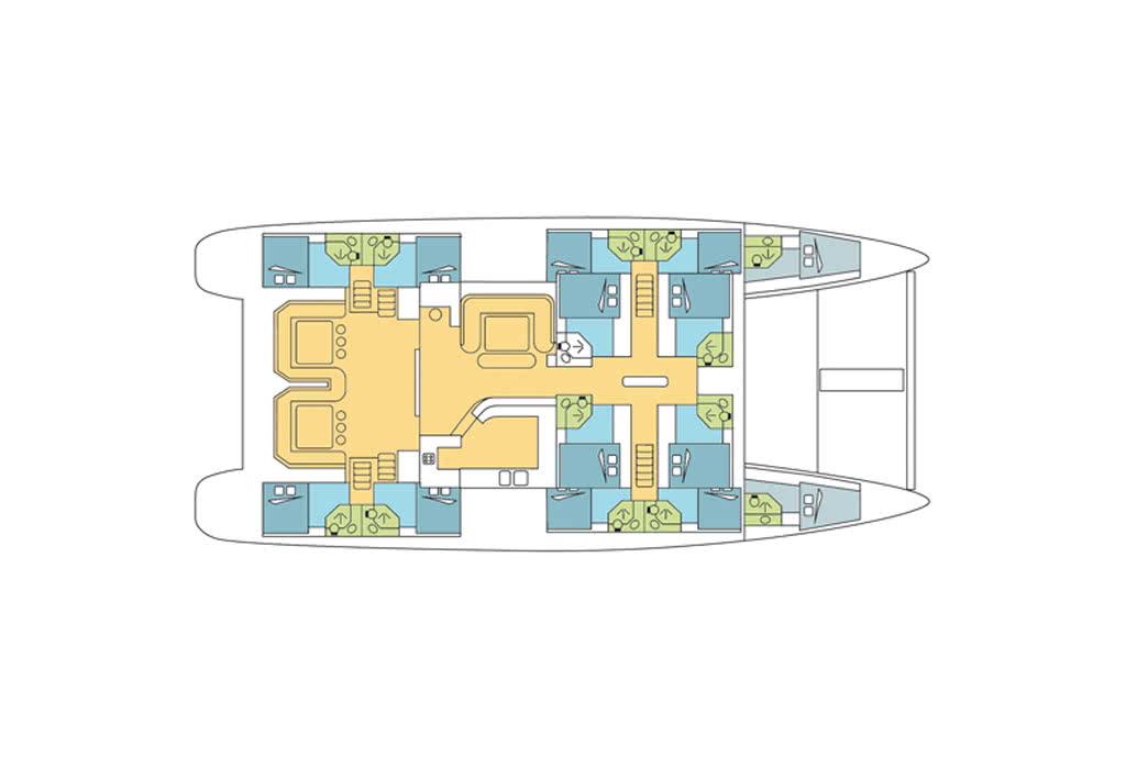 plan du catamaran croisière seychelles